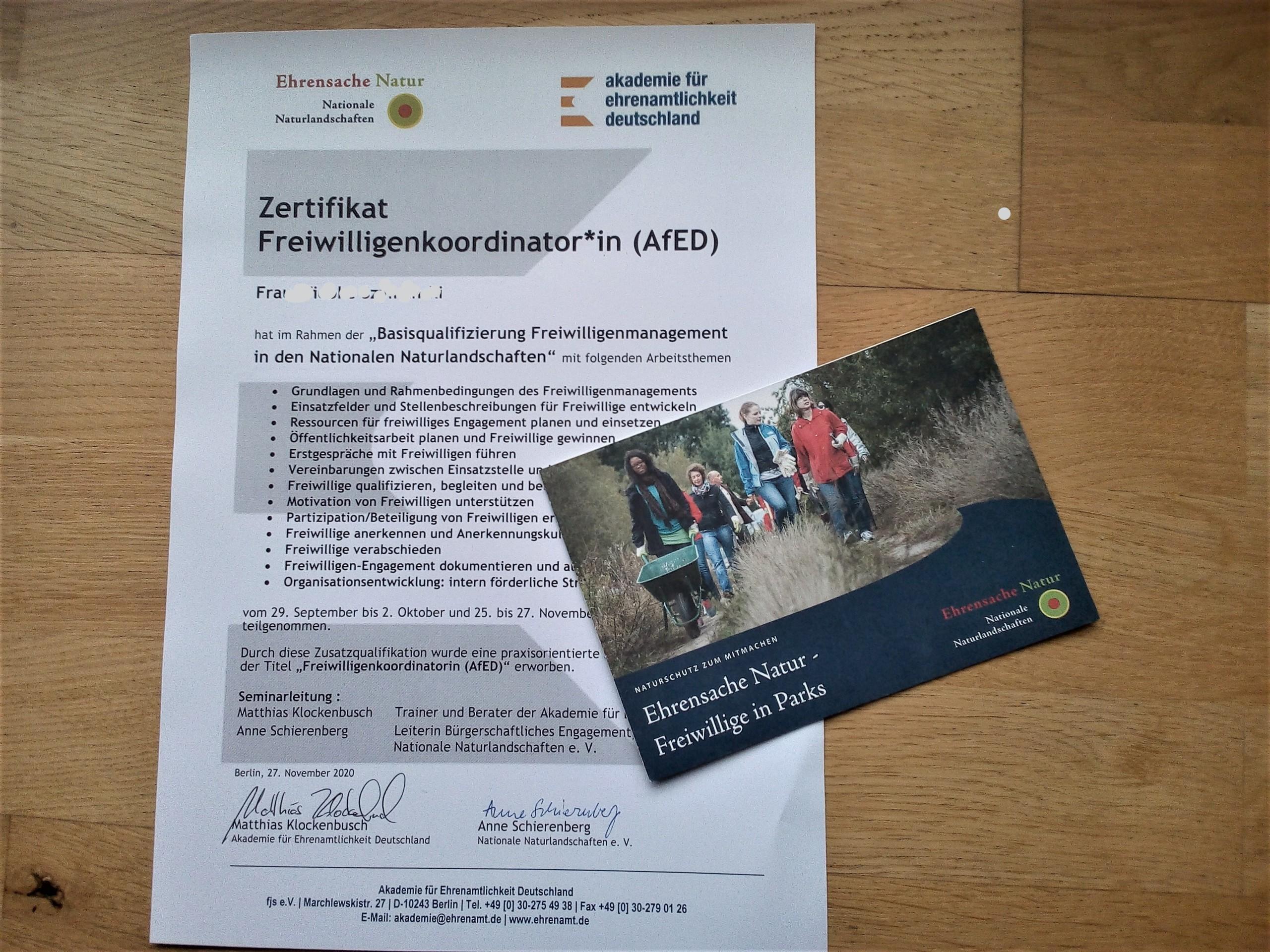 """Dokument mit Titel """"Zertifikat Freiwilligenkoordinator, Freiwilligenkoordinatorin"""